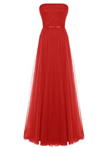 Bbonlinedress Robe de cérémonie Robe de demoiselle d'honneur en tulle sans bretelles longueur ras du sol Rouge