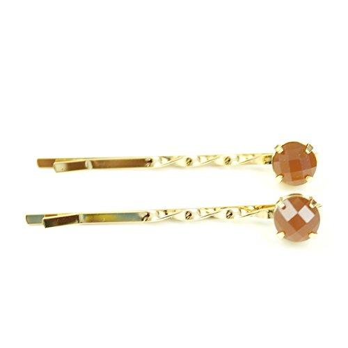 rougecaramel - Accessoires cheveux - Mini pince fantaisie métal doré 2pcs - orange