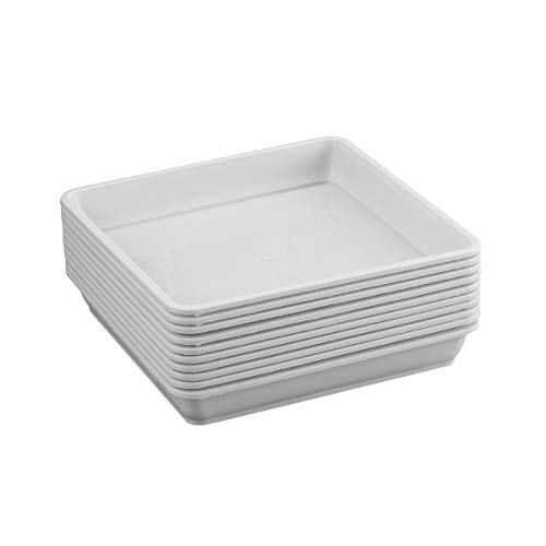 Yardwe 10 PCS Square Plastic Plant Saucer Tray Plant Pot Saucer Flower Pot Tray for Garden Potted Water Drips and Soil Resin Tray 5.9 x 5.9 x 1.1 Inch (White)