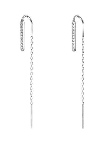 Ohrringe Einfache gerade Flash-Bohrmaschine vor und nach Quaste Ohrringe kleine Ohrringe Ohrringe Gold Sekretärin weiblich