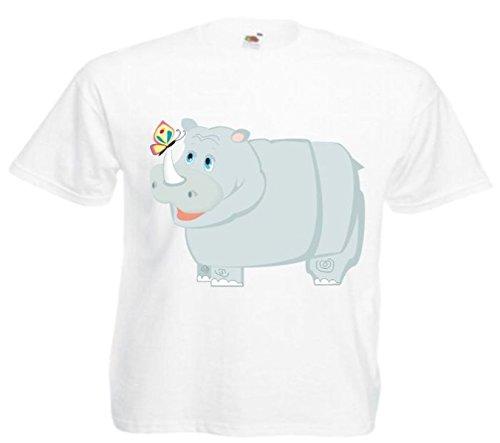 Motiv Fun T-Shirt Nashorn mit dem Schmetterling Cartoon Spass Kult Film Motiv Nr. 12311 Weiß
