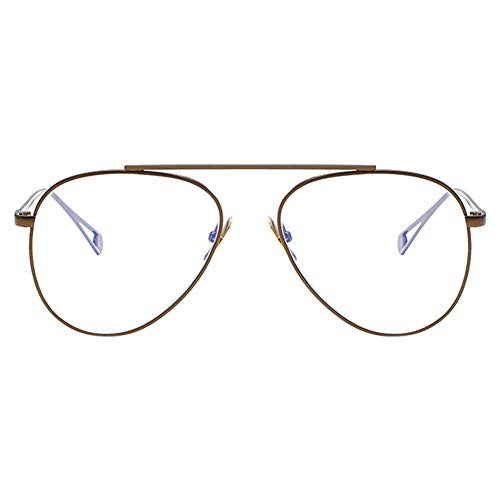 Zhuhaixmy Aviator Metallrahmen Brillen, Unisex Retro Brille Verspiegelt Transparent Gläser...