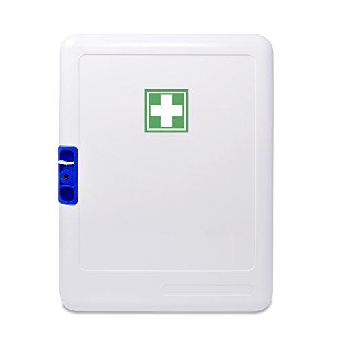 319Fa4ep4ZL - Botiquín Armario de primeros auxilios para pared - con 95 artículos indispensables para realizar curas de emergencia, blanco