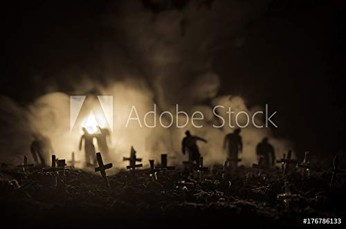 druck-shop24 Wunschmotiv: Silhouette of Zombies Walking Over Cemetery in Night. Horror Halloween Concept of Group of Zombies at Night #176786133 - Bild als Foto-Poster - 3:2-60 x 40 cm / 40 x 60 cm