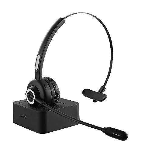 ESOLOM Bluetooth Headset mit Mikrofon, Telefon Headset Kopfhörer für iPhone Samsung Huawei HTC LG ZTE BlackBerry Android