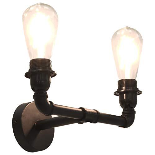 VidaXL Lámpara de Pared Doble 2xE27 Hogar Casa Bombillas Decoración Iluminación Luz Mobiliario Habitación...