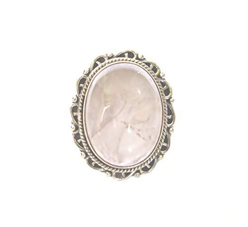 Anello unico moda per donne uomini 925 argento genuino etnici gioielli fatti a mano anello quarzo rosa bene guarigione pietra preziosa naturale tibetano artigiani anello dimensioni 14,5