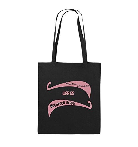 Nüchtern Farbe ES BESOFFEN Rosa BESSER Comedy WAR 38x42cm lange Pink Schwarz Schwarz Jutebeutel betrachtet Bags Henkel Pq5wAR