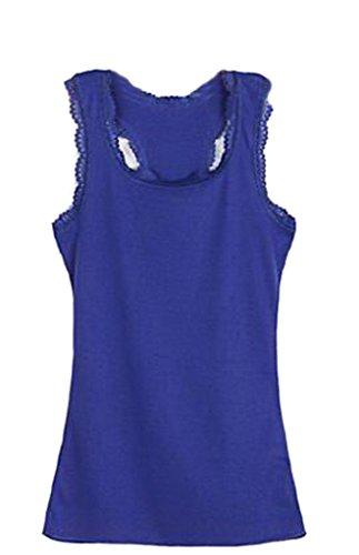 Bigood Veste Gilet Femme Coton T-shirt Tops Court Sans Manche Col Rond Mode Bleu