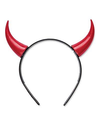 Kleine, rote Teufelshörner als Haarreif für Halloween & Fasching (Luzifer Kostüm Männer)