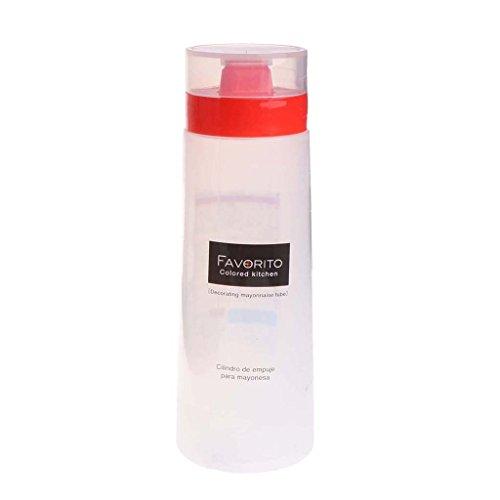 LANDUM 4-Loch Kunststoff Salat Dressing Squeeze Flasche Gewürzspender Ketchup Senf, Plastik, Red + Clear White, 17 cm