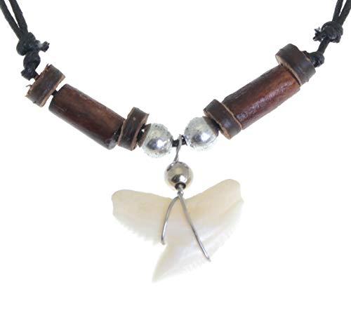 benerini Colgante de dientes de tiburón Collar de cordón negro con cuentas de madera - Ajustable - G