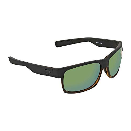 Costa Del Mar HFM181OGMP Spiegel mit Schildkrötenrahmen, Halbmondgrün, 580P, matt-schwarz-glänzender Rahmen mit Schildkröten-Optik, matt-schwarz/glänzend