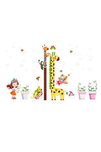 SMTD Junge Mädchen Baby Babyzimmer DIY Niedliche Cartoon Höhe Messen Wandaufkleber PVC Kinder Giraffe Wohnzimmer Schlafzimmer Dekoration Wandtattoo (Zwei Paare) 6645