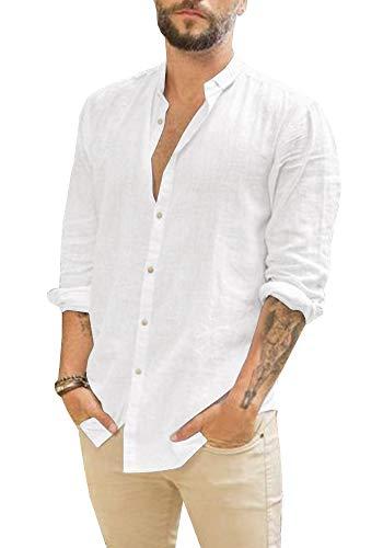 Gemijacka Leinenhemd Herren Hemd Herren Langarm Sommerhemd Herren Regular Fit Freizeithemd, Weiß, L