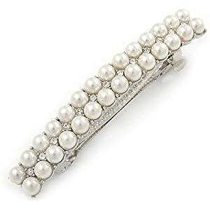 Brautschmuck Hochzeit Ball Silber Ton 2Row Perle, Kristall Haarspange Hair Clip Grip–80mm W