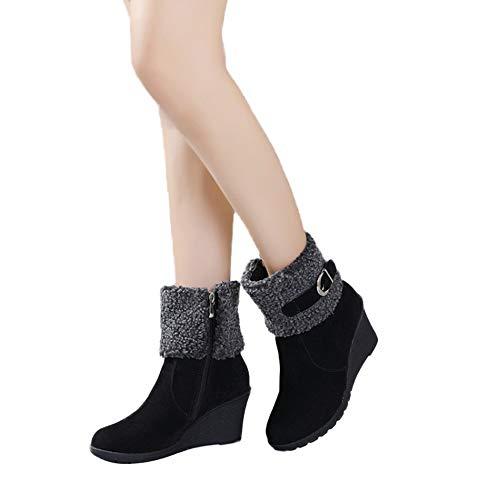 TianWlio Stiefel Frauen Herbst Winter Schuhe Stiefeletten Boots Stiefel Mode Kurze Schnalle Schlüpfen Keile Wedges Lange Hochhackige Schneestiefel Schwarz 40