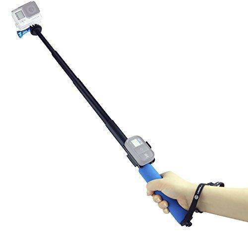 Asta per GoPro CamKix - Asta Telescopica Regolabile Monopiede con Supporto per Telecomando Wifi - Si estende da 33 a 96 cm - 'Ruota e Blocca' Facile da estendere e ritrarre - Montatura del cavalletto compatibile con GoPro Hero 5, 4, 3+, 3, 2, 1 - 1 Vite a Galletto in Alluminio e 1 Cordino inclusi