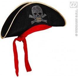 WIDMANN Cappello da Pirata in Velluto con Teschio Borchiato e Bandana