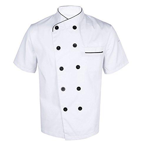 dPois Unisex Koch Kostüm Kochjacke Bäckerjacke Kurzarm Oberteile Shirt Küche Kochkleidung Uniform Berufsbekleidung mit knöpfen Küchenchef Kostüm in Schwarz Weiß Weiß L
