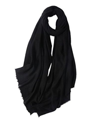 Prettystern - donne sciarpa lana fibre twill xl 210cm frange corte tinta unita lunga pashmina stola - nero