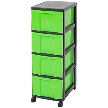 Kunststoff gelb // schwarz 4 große Schubladen IRIS Schubladenbox mit Rollen