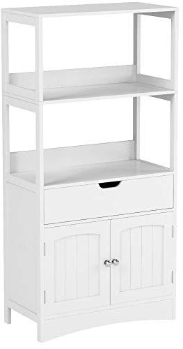 VASAGLE Badschrank, vielseitig einsetzbares Badregal mit 4 Etagen, Badezimmerschrank aus Holz, weiß, 60 x 122 x 32,5 cm (B x H x T) BBC64WT