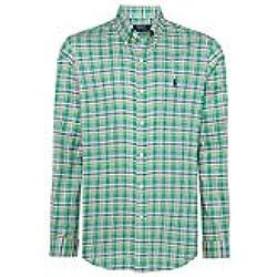 Ralph Lauren Ajuste Personalizado Plain, Rayas, Cuadros y Cuadros popelín Camisas para los Hombres Verde Azul Large