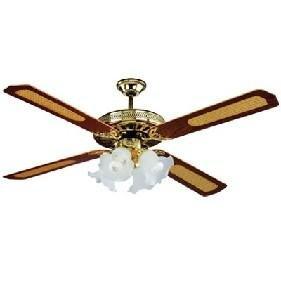 Dcg eltronic vecrd53l, ventilatore a soffitto in legno, 4 luci