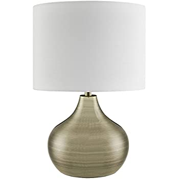 Lighting collection 700199 e14 40 w table lamp with gold cable and large ivory drum shade antique brass