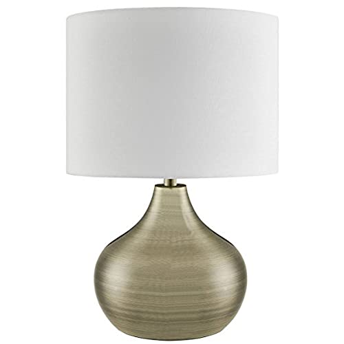 Lighting Collection 700199 E14 40 W Table Lamp with Gold Cable and Large  Ivory Drum Shade, Antique Brass