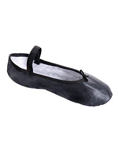 So Dança BAE90 Leder Ballett Gymnastik Sport Fitness Schläppchen Chromledersohle Weite N für schmale Füße Schwarz