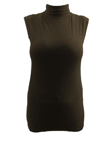 Lush Clothing B73-Womens Sans manche Polo Col Roulé Extensible Uni T-Shirt Haut - Taille - Chocolat, Femme, EU 44/46