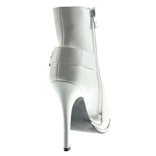 Angkorly - Chaussure Mode Bottine plateforme sexy stiletto Femme fermeture zip boucle doré Talon haut aiguille 12.5 CM - Intérieur Fourrée Blanc