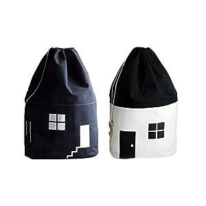 332PageAnn Spielzeugkiste Aufbewahrungstasche Wäschesack Aus Baumwolle, Geschenktütchen Für Kinderzimmer Deko, Schwarze Und Weiße Haus