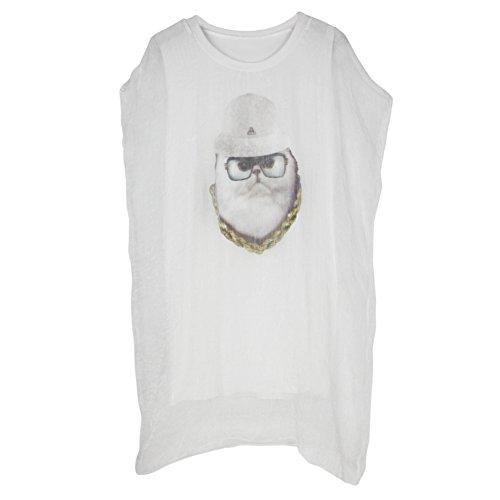 Chouette Femme Robe Lâche Mini Imprimé T-Shirt Long Casual Manches Courtes Col Rond Chemise Blouse Blanc
