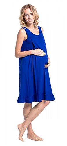 Happy Mama. Damen Umstands-Nachthemdchen Stillfunktion Schwangere Ärmellos. 989p Königsblau