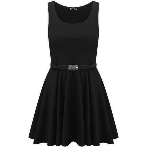 Swagg Fashions Women's Skater Dress Uk 12-14 Black