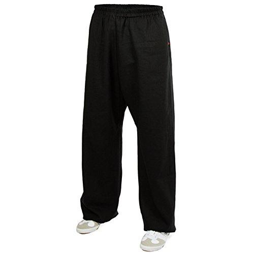 Leinen (schwer) Trainingshose - Kung Fu - Wushu - Tai Chi - Taiji - Martial Arts - Hose - Sport - Yoga - Freizeit - Schwarz - 195 (Gewaschenes Hose Leinen)
