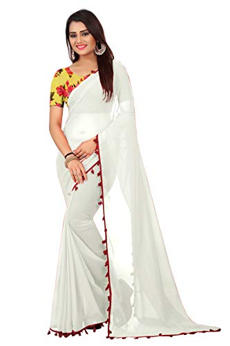 SilverStar Women's Plain Georgette Saree with Printed Silk Blouse Piece, Free Size (SSS1427, White)