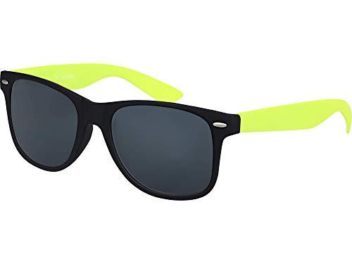 Balinco Hochwertige Nerd Sonnenbrille Rubber im Retro Stil Vintage Unisex Brille mit Federscharnier - 96 verschiedene Farben/Modelle wählbar (Neongelb/Schwarz - Smoke)