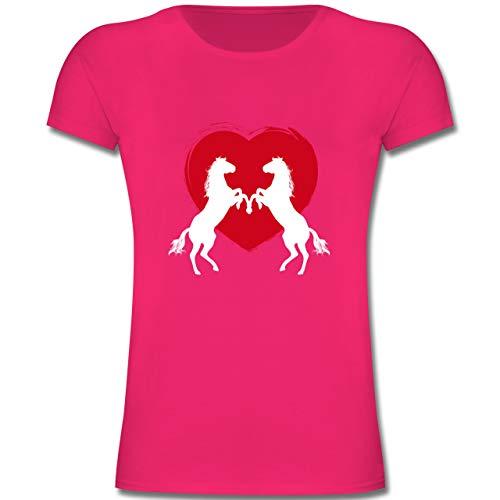 Tiermotive Kind - Pferde mit Herz - 152 (12-13 Jahre) - Fuchsia - F131K - Mädchen Kinder T-Shirt