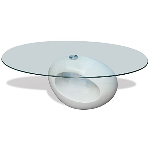 vidaXL Table basse blanche laquée ovalle design verre de salon