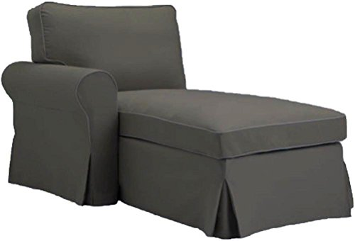 Custom Slipcover Replacement graue Ektorp Chaise mit dem Arm Abdeckung Ersatz ist nach Maß für IKEA Ektorp Chaise Lounge mit dem Arm Sofa Slipcover. ARM auf der Linken