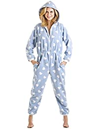Pijama de una pieza - Estampado de corazones blancos - Azul