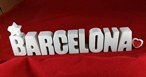 Beton Buchstaben Städte Namen BARCELONA Reise Hotel mit Stern und Herzklammer. Überraschen Sie doch Ihren Partner/in oder einen lieben Menschen mit einem Geschenk für eine Kurzreise, Trip oder Urlaub!