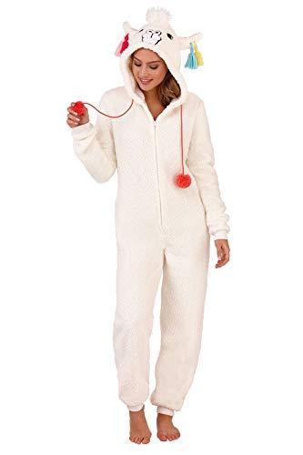 Unbekannt Damen Pyjama aus weichem Fleece, Tiermotiv Gr. Large 44-46, Cream Llama - Primark Kostüm