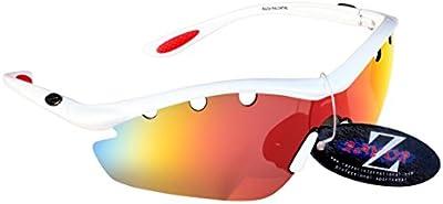 Rayzor profesionales ligeros UV400Blanco Deportes Wrap ESQUÍ Gafas de sol, con una pieza 1con ventilación Roja Iridium espejo antideslumbrante lente