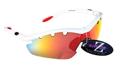 RayZor Professional leichte UV400Weiß Sport Wrap Wandern Sonnenbrille, mit einem 1Stück belüftet rot Iridium verspiegelt Blendfreie Objektiv