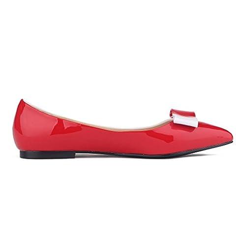 Xianshu Femmes Brevet Cuir Lutte Couleur Chaussures Point Orteil Peu Profonde Bouche Plate Chaussures(Red-35.5